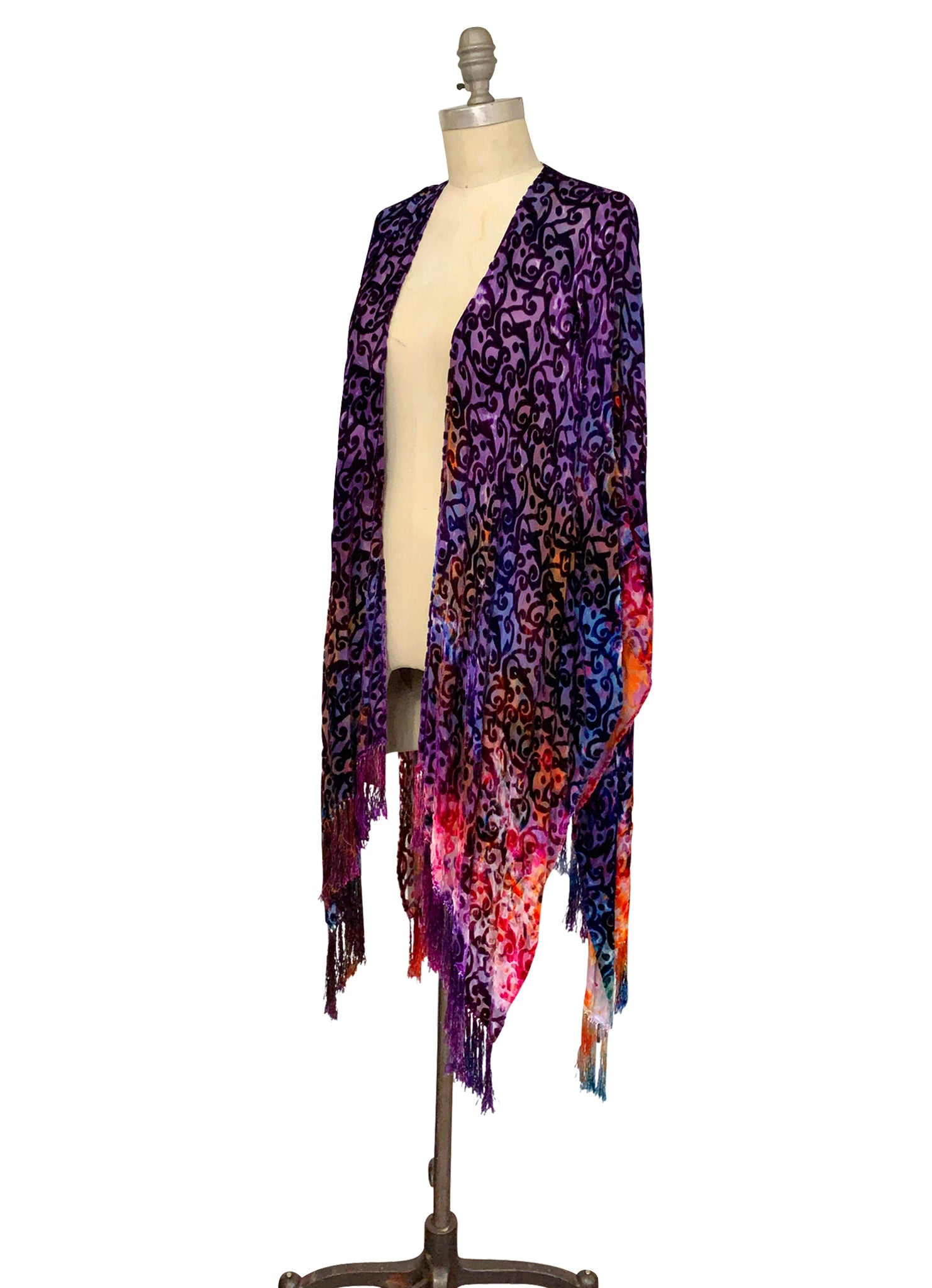 Velvet Burn-Out Fringe Shawl in Wonder - Velvet Burnout Fringe Shawls - Dyetology