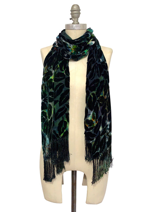 Silk Rayon Burn-Out Velvet Scarf with Fringe in Woodland Camo - Velvet Burnout Scarf - Dyetology