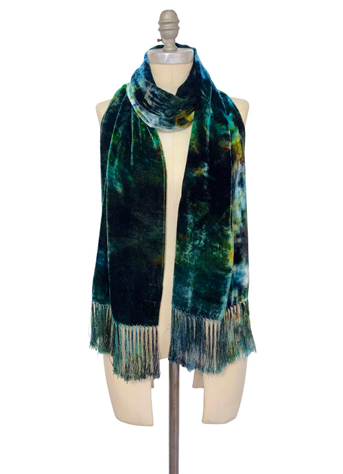 Silk Rayon Velvet Scarf with Fringe in Woodland Camo - Velvet Burnout Scarf - Dyetology
