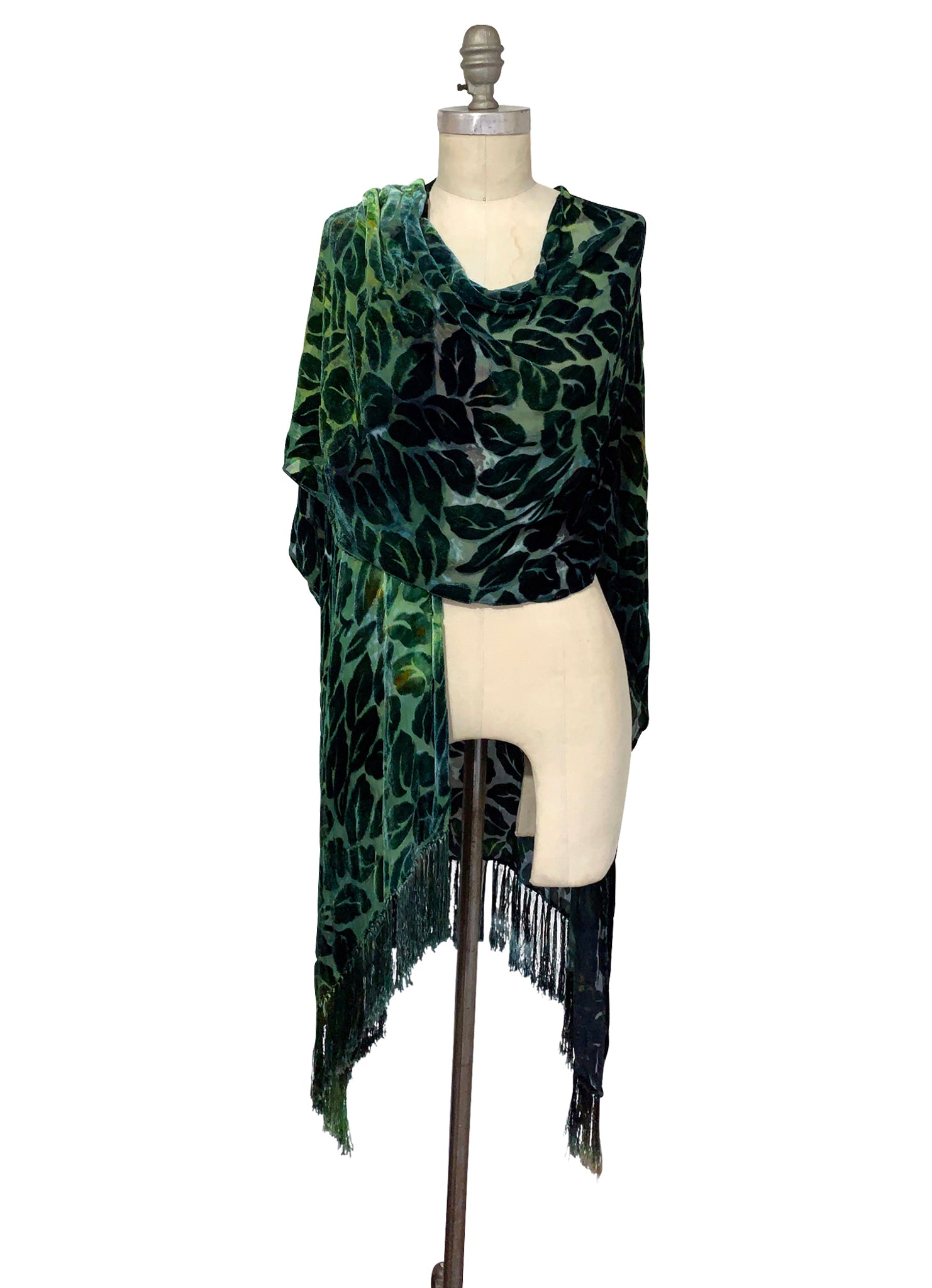 Velvet Burn-Out Fringe Shawl in Woodland Camo - Velvet Burnout Fringe Shawls - Dyetology