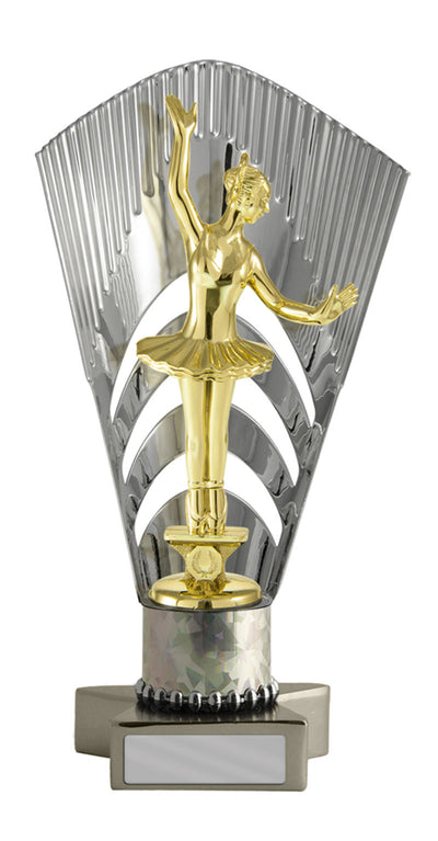 Dance Trophy - Metallic Star Base with Backstand - Silver - D17-0617 - 228mm