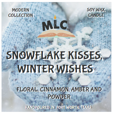 Snowflake Kisses, Winter Wishes - Hand Poured - 10oz Seasonal Soy Candle - Wood Wick