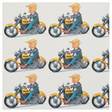 Trump on a Bike Motorcycle Fabric