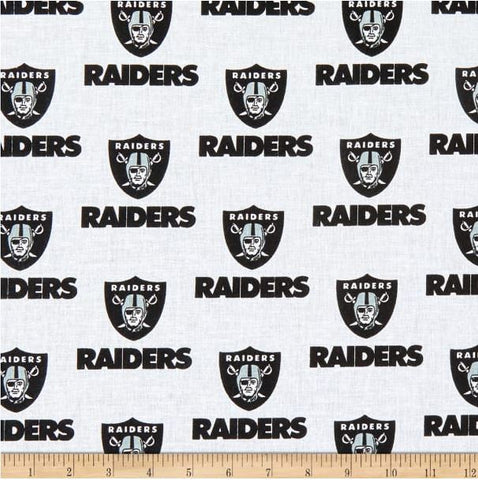 Oakland Raiders White NFL Cotton Broadcloth Fabric (by the yard)