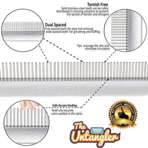 "Untangler 7"" Cat Comb dual-spaced-smooth rotating stainless teeth - Vet Recommended!"