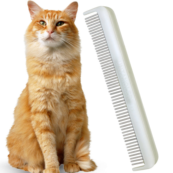 "Untangler 7"" Cat Comb with dual-spaced, silky smooth rotating teeth for easy mat removal and humane grooming - Vet Recommended!"