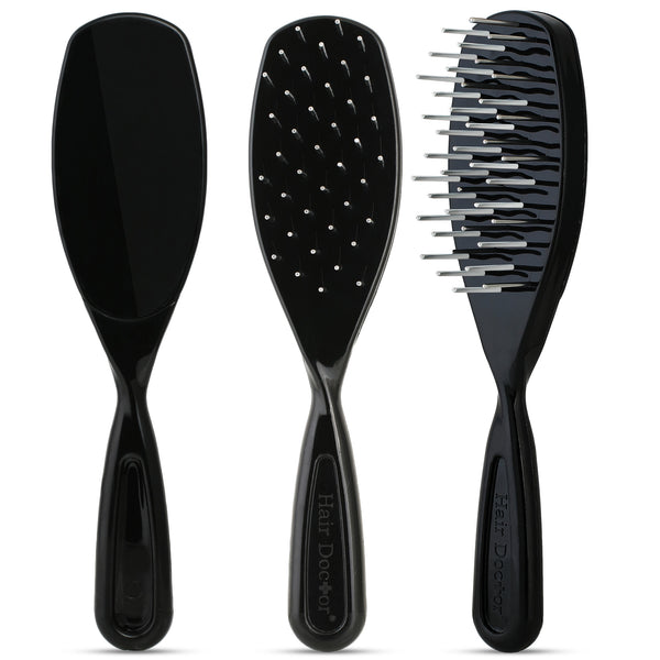 Untangler Pet Brush with smooth rotating stainless teeth for pain-free brushing.