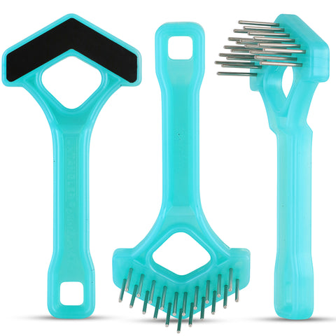 Untangler V-Shape Mini Rake - Double-row Long Rotating Stainless-Steel Teeth.