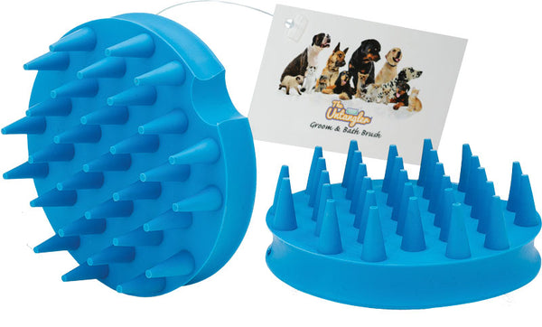 Untangler  Pet Massage Brush - for Medium and Long Coats, 31 deep soft fingers collect loose hair, massages skin and muscles to stimulate circulation!