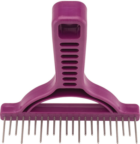 Untangler Shedding Rake-Smooth staggered rotating stainless-steeth easily collects loose hair.