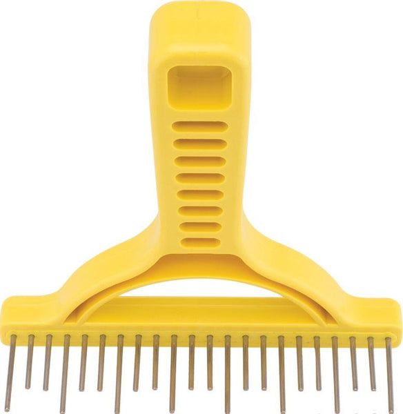 Untangler Shedding Rake - Smooth staggered rotating stainless-steel teeth- easily collects loose hair.  Customer favorite!