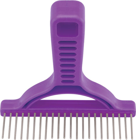 Untangler Extra-Long Grooming Rake- smooth stainless-steel teeth easily collect loose hair.