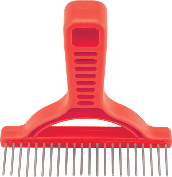 Untangler Extra Long Grooming Rake- smooth rotating stainless teeth easily collects loose hair.