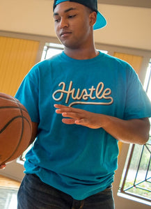 Hustle Blue T-Shirt with Silver and Glitter Accent