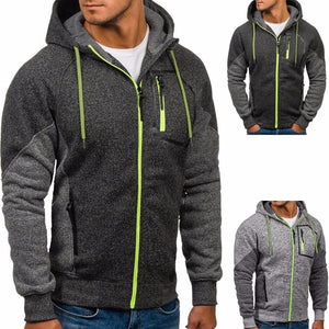 Mens Green Zip Up Hooded Sweatshirt