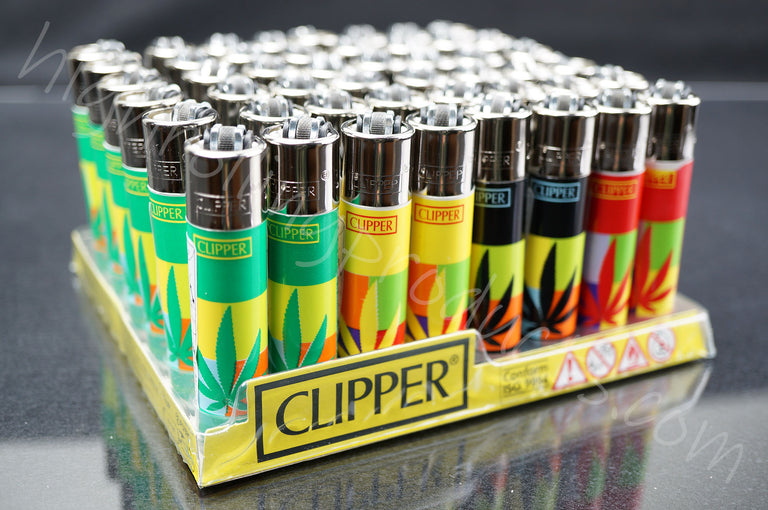"48x Full Display Clipper Refillable Lighters ""Leaves"" Collection"
