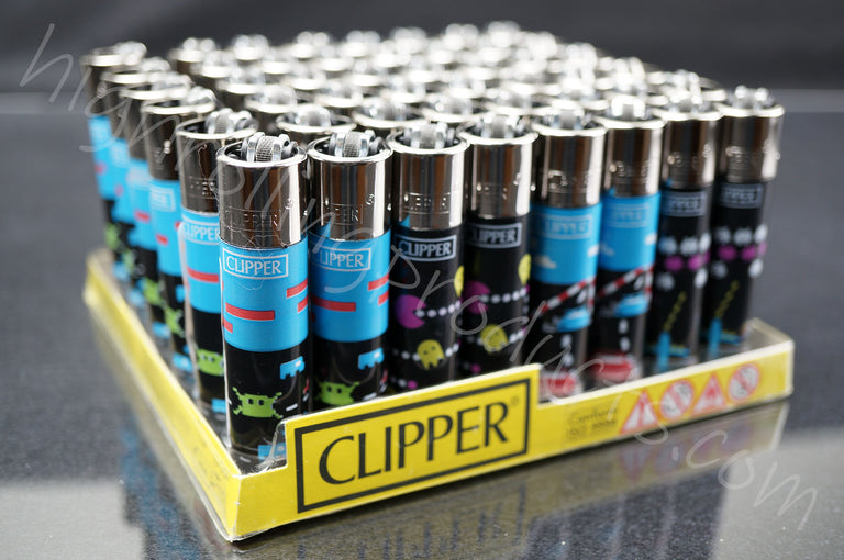 "48x Full Display Clipper Refillable Lighters ""Atari Video Games"" Collection"