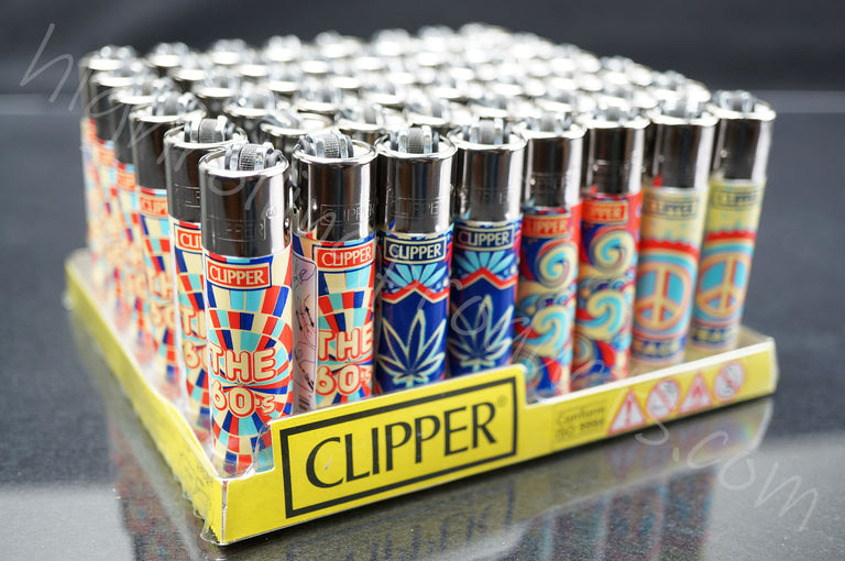 "48x Full Display Clipper Refillable Lighters ""The 60's"" Collection"