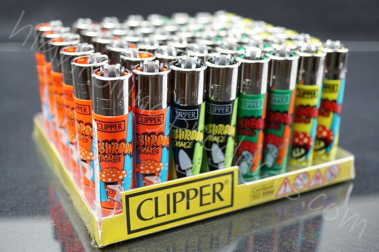 "48x Full Display Clipper Refillable Lighters ""Mushrooms Dance"" Collection"