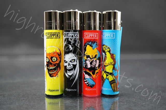 "4x Clipper Refillable Lighters ""Zombie Nation"" Collection"