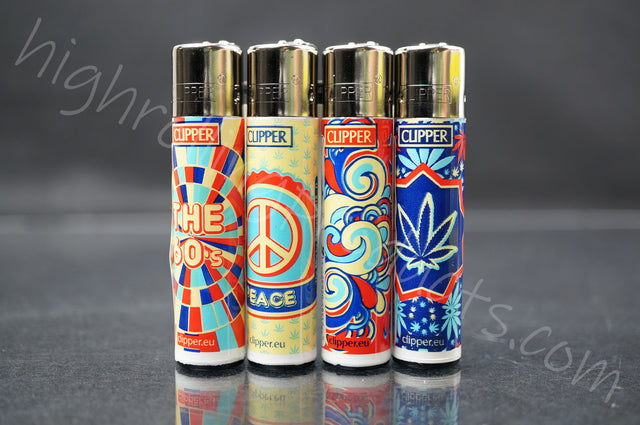 "4x Clipper Refillable Full-Size Lighters ""The 60's"" Collection"