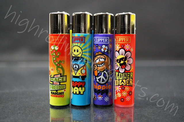 "4x Clipper Refillable Lighters ""Hippie"" Collection"