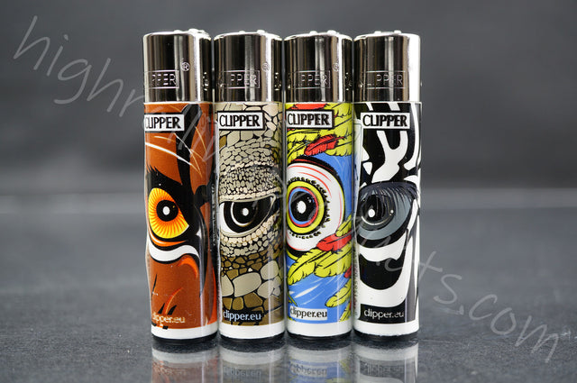 "4x Clipper Refillable Lighters ""Dragon Eyes"" Collection"
