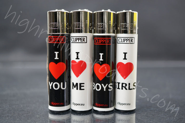 "4x Clipper Refillable Lighters ""Love"" Collection"