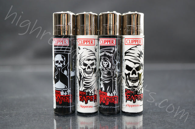 "4x Clipper Refillable Lighters ""Grim Reaper"" Collection"