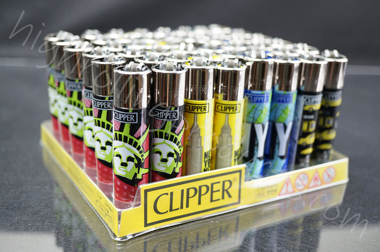 "48x Full Display Clipper Refillable Lighters ""New York"" Collection"