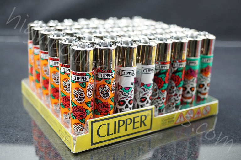"48x (Full Display) Clipper Refillable Full-Size Lighters ""Mexican Sculls 2"" Collection"