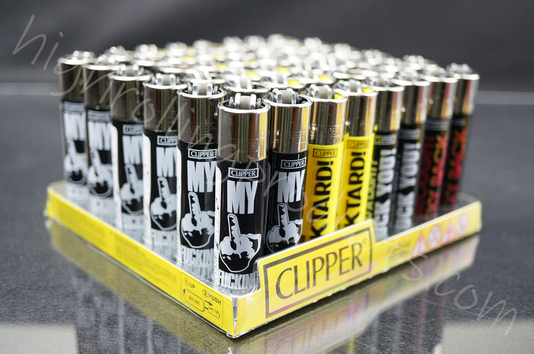 "48x (Full Display) Clipper Refillable Full-Size Lighters ""Funny Saying"" Collection"