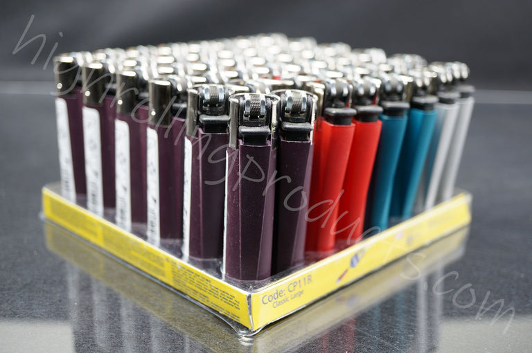 "48x (Full Display) Clipper Refillable Full-Size Lighters ""Metallic Colors"" Collection"