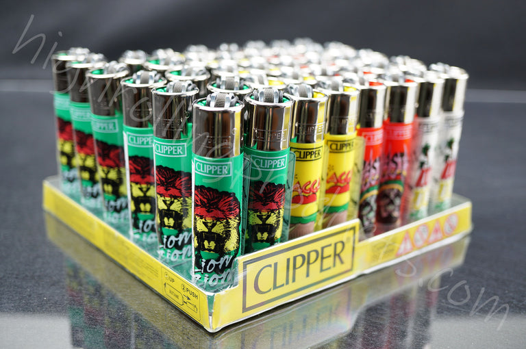 "48x (Full Display) Clipper Refillable Full-Size Lighters ""Rasta"" Collection"