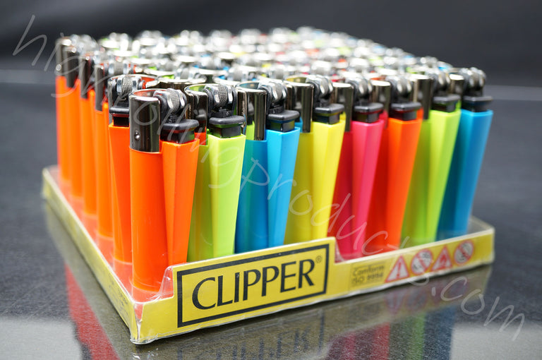 "48x (Full Display) Clipper Refillable Full-Size Lighters ""Vivid Colors"" Collection"