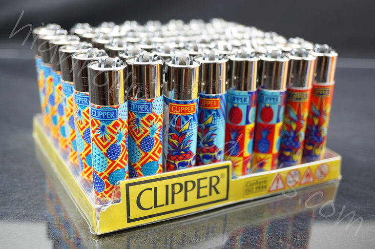 "48x (Full Display) Clipper Refillable Full-Size Lighters ""Pineapple"" Collection"
