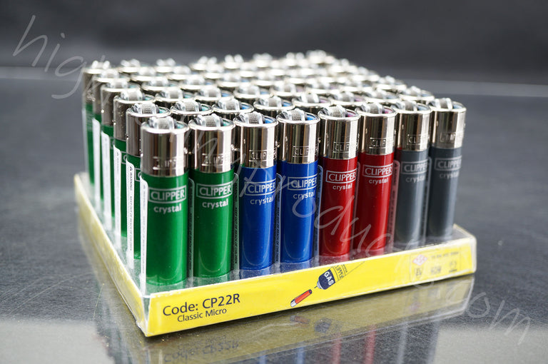 "48x Full Display Of Clipper Refillable Mini Size Lighters ""Cristal"" Collection"