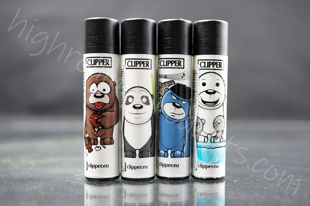 "4x Clipper Refillable Lighters ""Bear"" Collection"