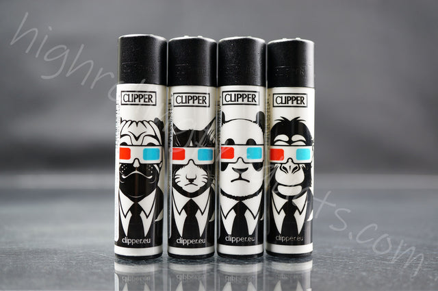 "4x Clipper Refillable Lighters ""3D  Animals"" Collection"
