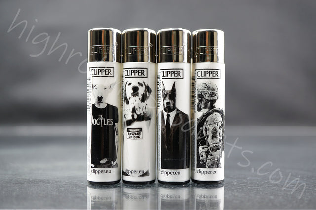 "4x Clipper Refillable Lighters ""Dog"" Collection"