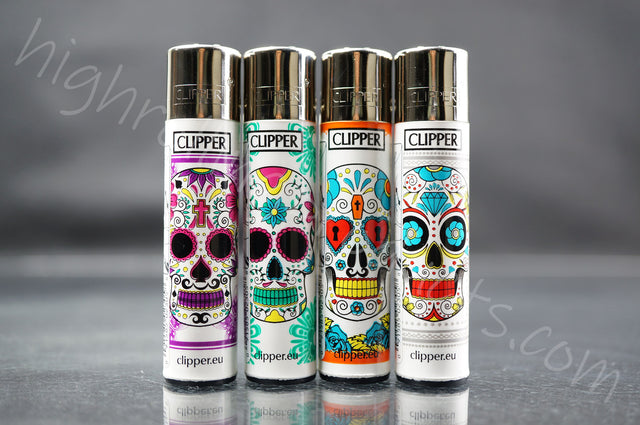 "4x Clipper Refillable Lighters ""Mexican Sculls"" Collection"