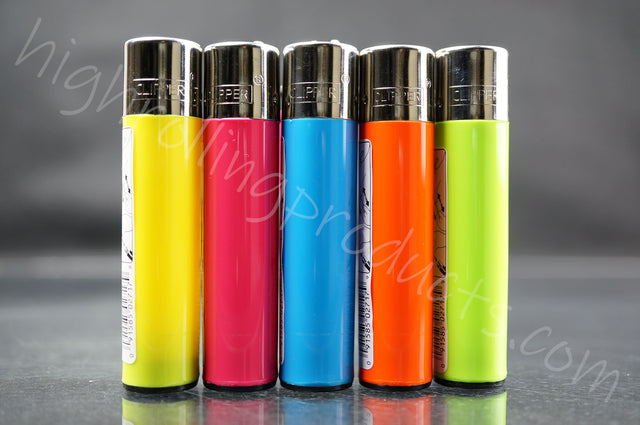 "5x Clipper Refillable Lighters ""Vivid Colors"" Collection"