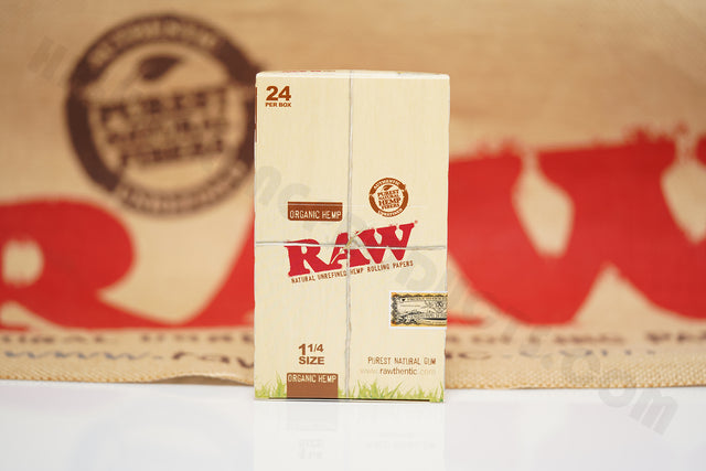 1x Full Box Of AUTHENTIC Raw Organic Rolling Paper 1 1/4 (24 Packs, 50 Leaves Per Pack)