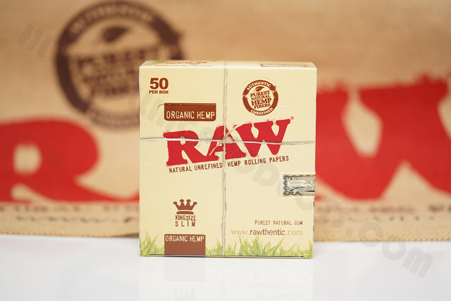 1x Full Box Of AUTHENTIC Raw Organic Rolling Paper King Size (50 Packs, 32 Leaves Per Pack)