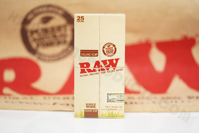 1x Full Box Of AUTHENTIC Raw Organic Rolling Paper Single Wide (25 Packs, 100 Leaves Per Pack)