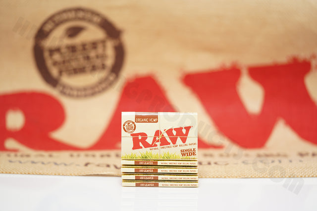 5 Packs Of AUTHENTIC Raw Organic Rolling Paper Single Wide (25 Packs, 100 Leaves Per Pack)