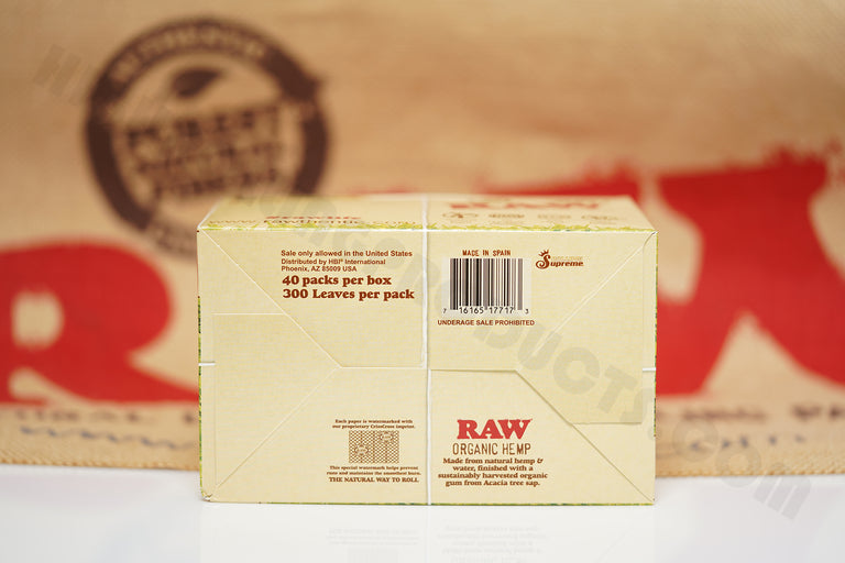 Full Box Of AUTHENTIC Raw Organic Rolling Paper 300's (40 Packs, 300 Leaves Per Pack)