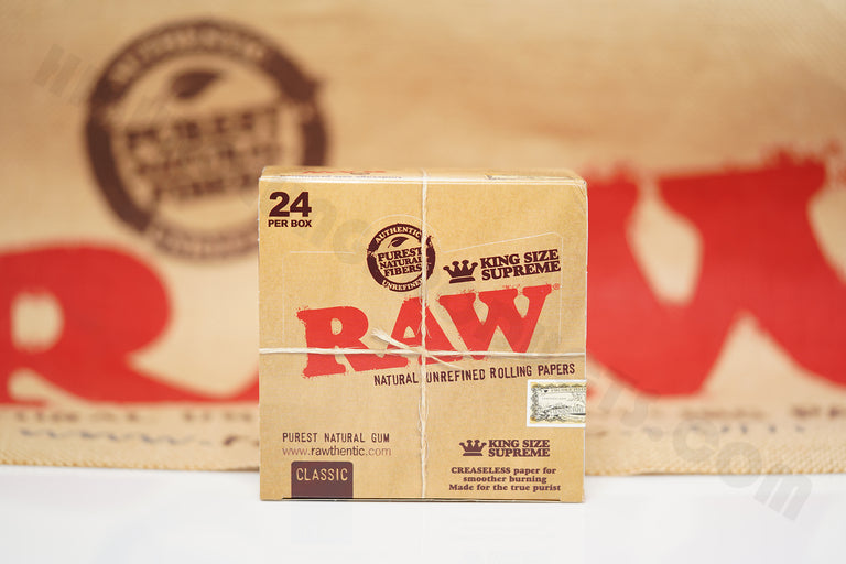1x Full Box 24 Packs(40 Leaves Per Pack) Authentic Raw Classic King Size Supreme Rolling Paper