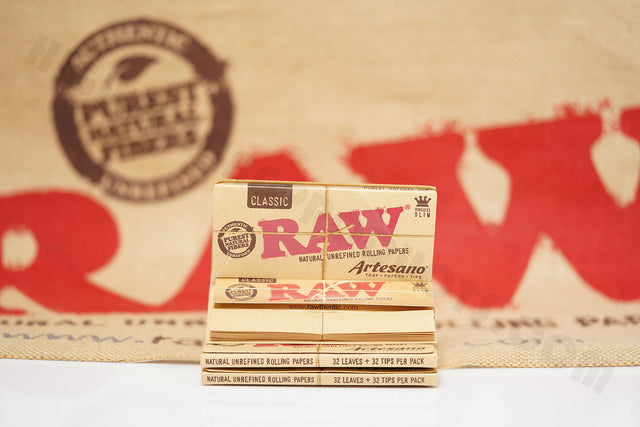 3 Packs(32 Leaves And 32 Tips Per Pack) Authentic Raw Classic King Size Artesano Rolling Paper