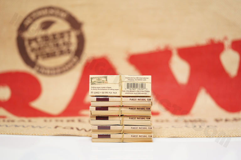 1x Full Box 24 Packs(50 leaves And 50 Tips Per Pack) Of AUTHENTIC Raw Classic Connoisseur Rolling Paper 1 1/4 Size